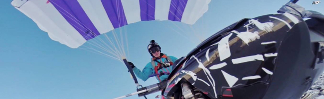 StuntFreaksTeam Snowmobile parachute stunt