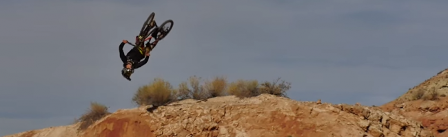 Antoine Bizet lands his first flair on a Kona Supreme Operator last week in Utah.